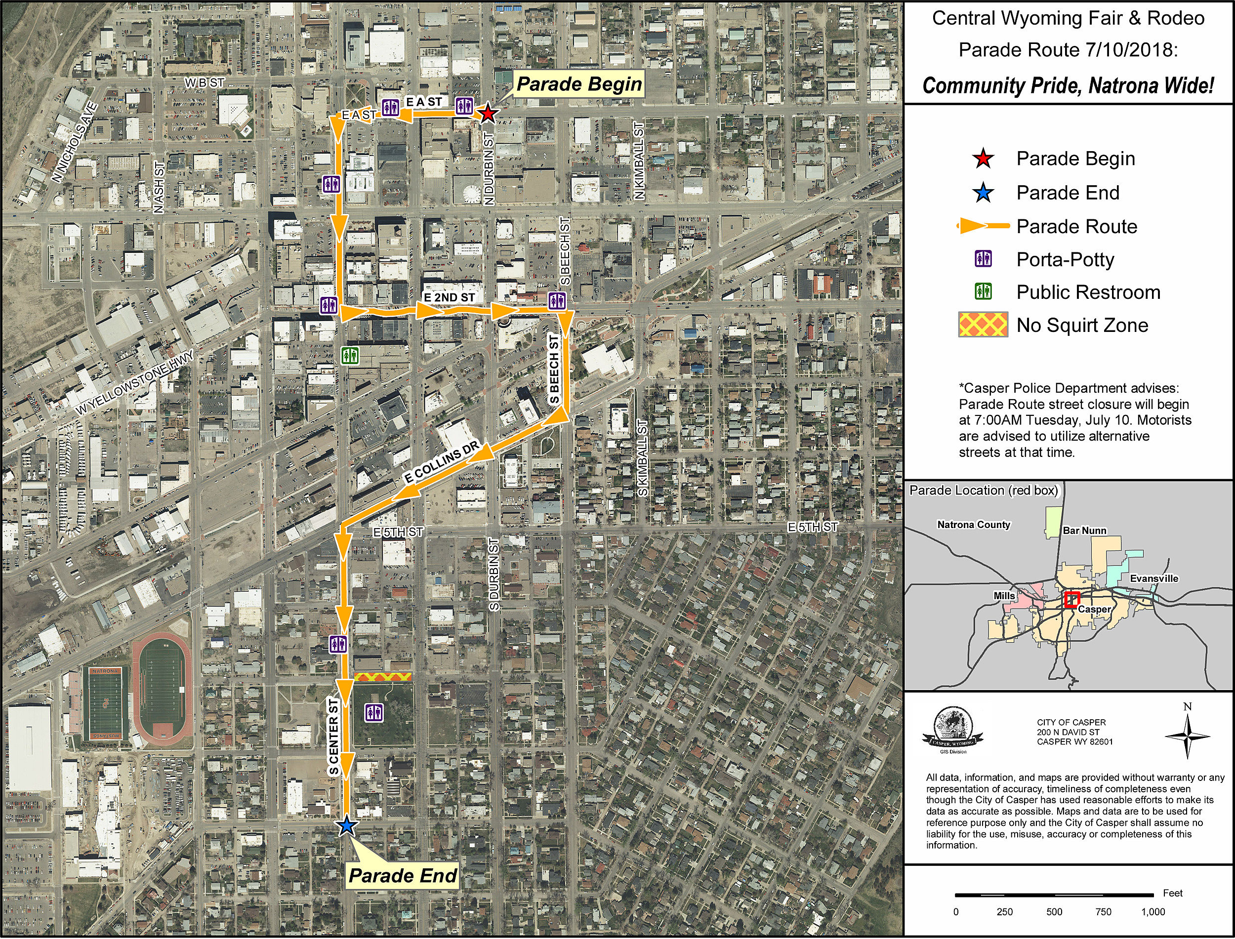 Route And Reminders For Casper S Parade Day