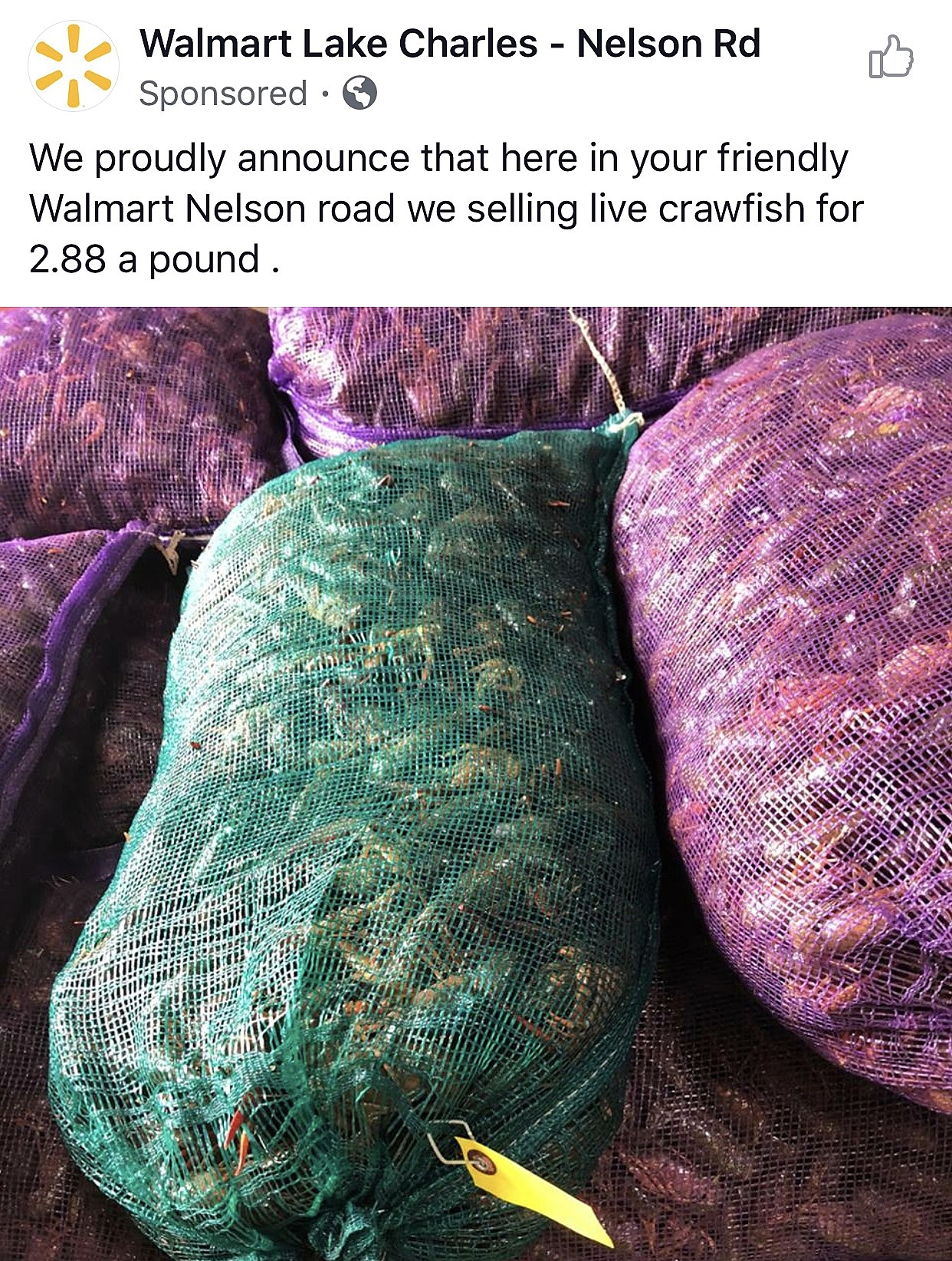 Walmart In Lake Charles Sells Crawfish Now