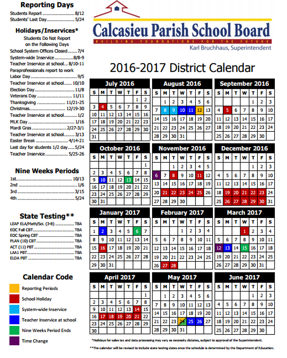 Louisiana School Board 2016 2017 School Year Calendars By The Parish