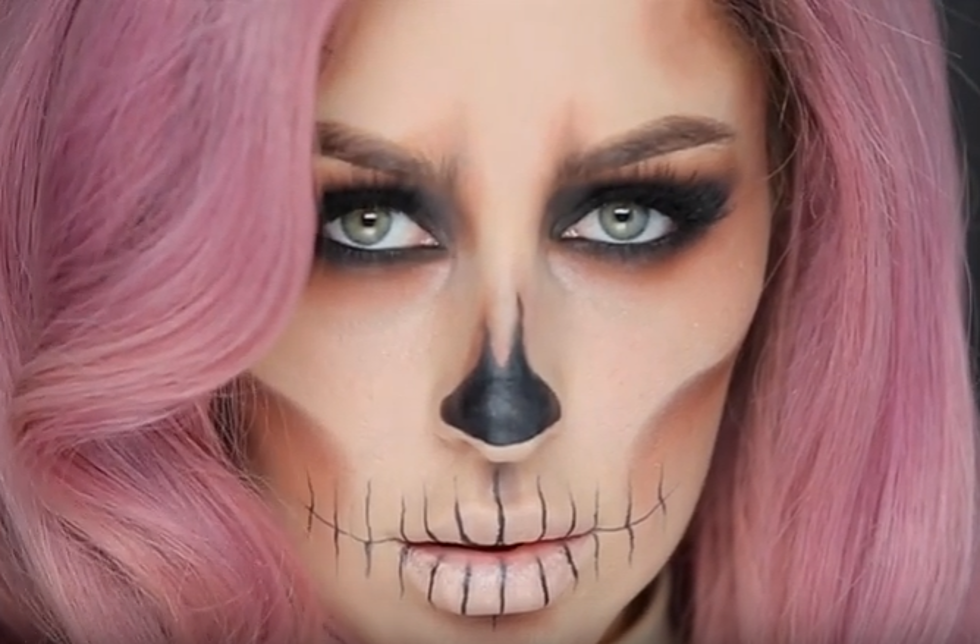 Easy Skull Makeup Tutorial Video
