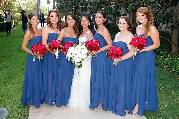 You Bride and bridesmaid flashing simply