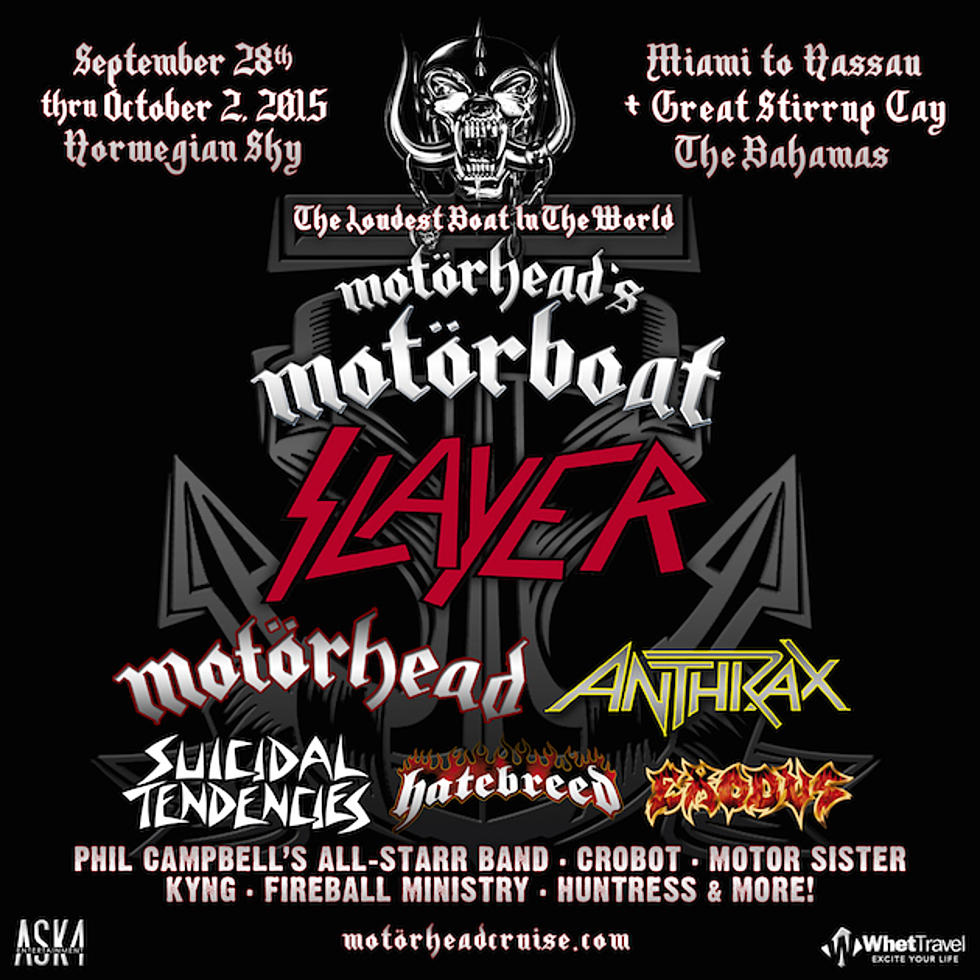 Motorhead's Motorboat Cruise 2015 to Set Sail With Slayer, Motorhead,  Anthrax + More