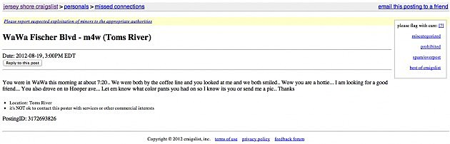 Funny And Creepy Missed Connections From Craigslist Jersey Shore