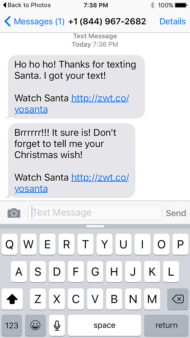 how to send santa a text message
