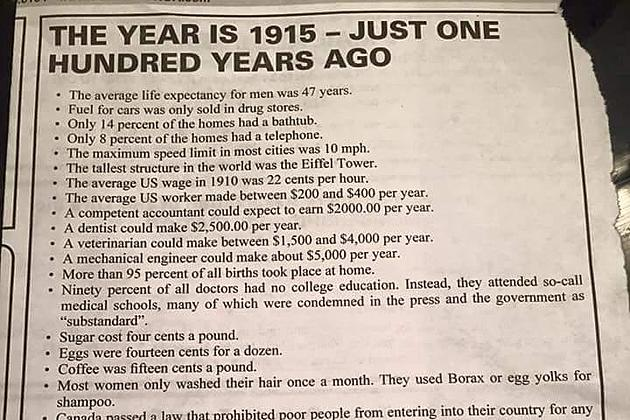things have sure changed in the past 100 years