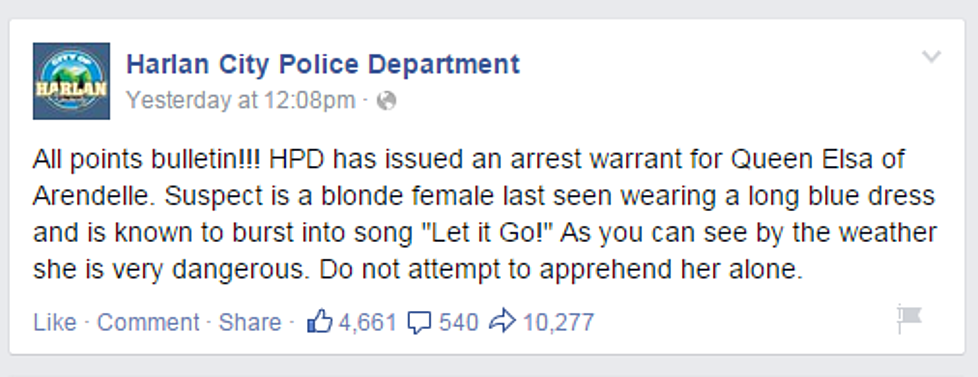 Kentucky Police Department Puts A Warrant Out On Ice Queen Elsa