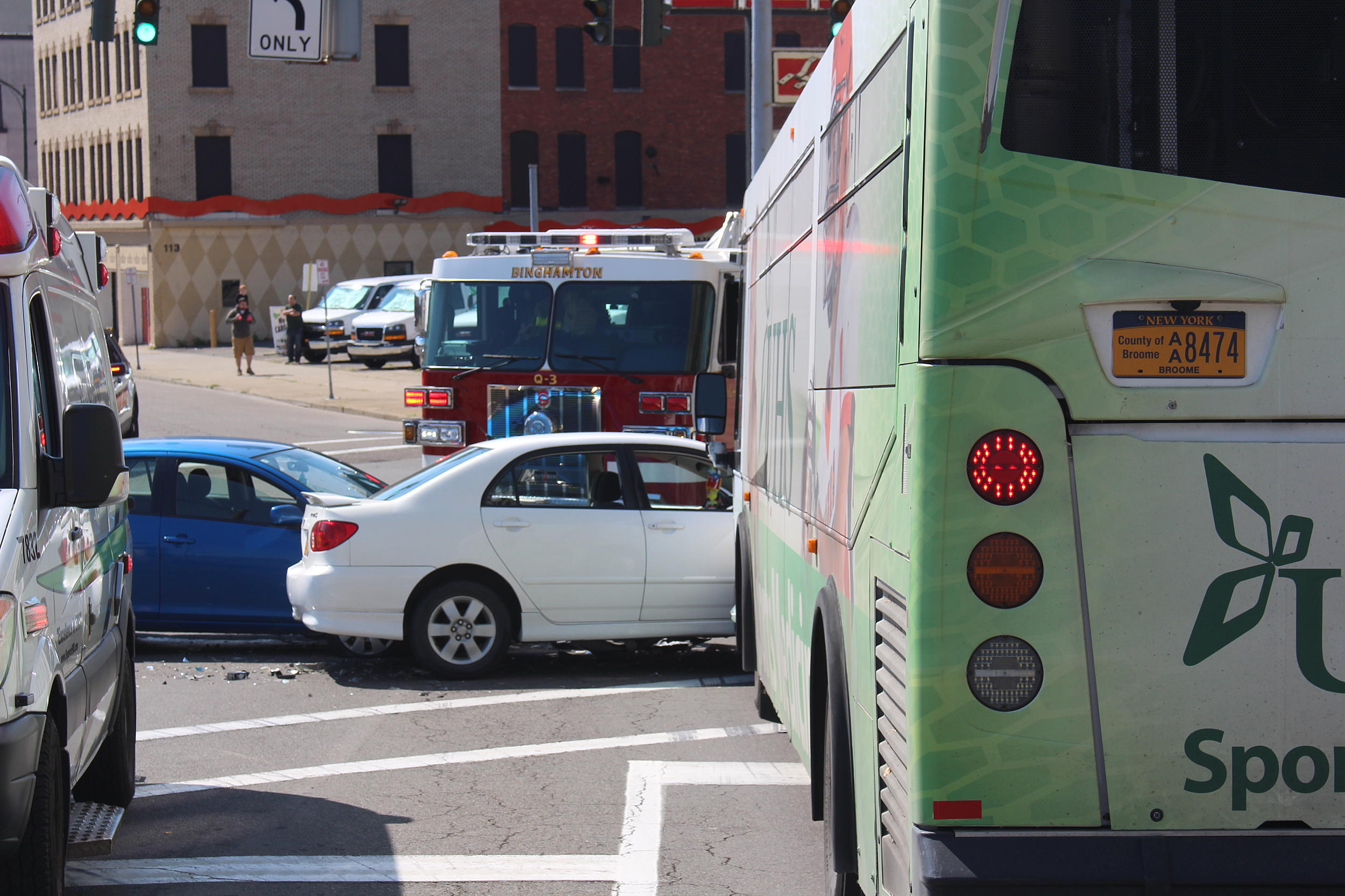 two cars, bc transit bus collide in downtown binghamton