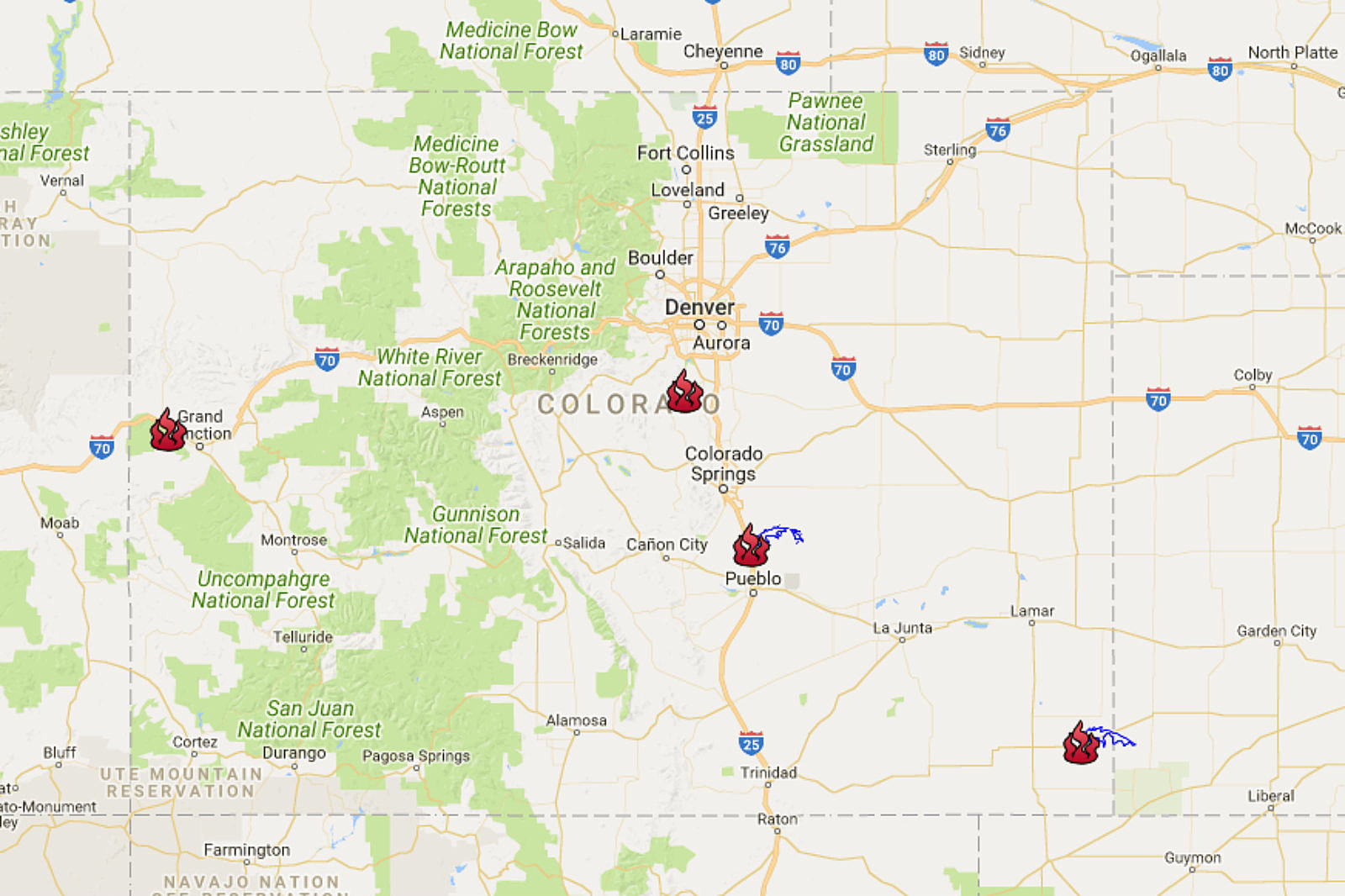 Map Keeps You Up to Speed With Colorado's Active Wildfires