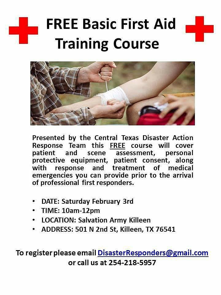 Free First Aid Training Course In Killeen Saturday