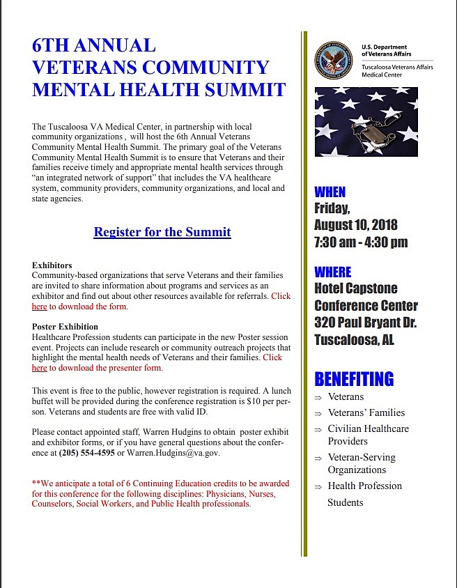 6th Annual Veterans Community Mental Health Summit Planned