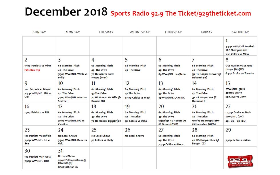 december broadcast calendar