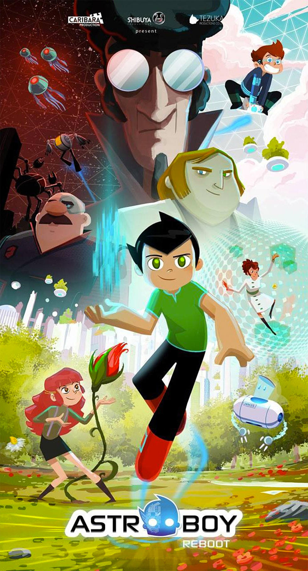 Astro boy reboot poster reveals characters designs and the strange polo shirts of the future