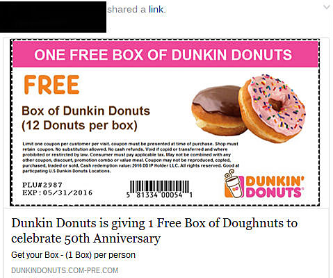 image relating to Dunkin Donuts Printable Application identified as Dunkin Donuts Printable Coupon codes Promo Codes