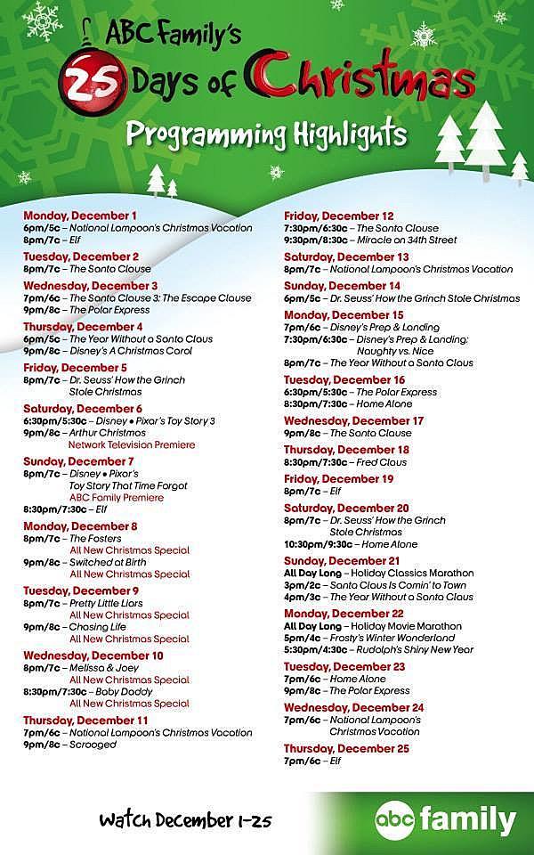 Abc Familys 25 Days Of Christmas Via Facebook