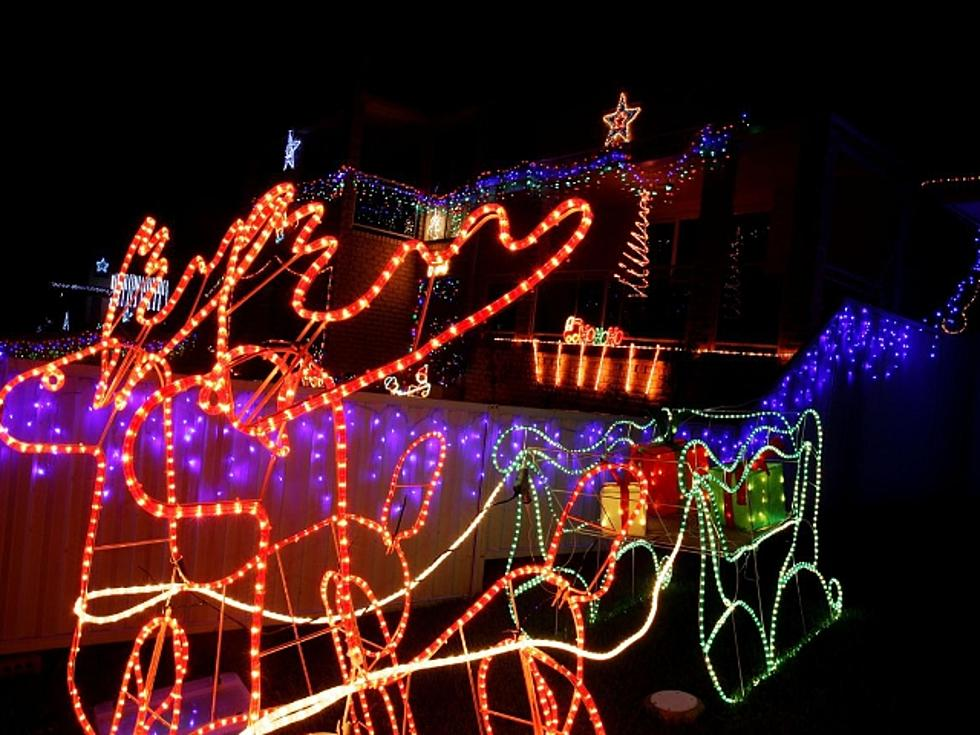 Patriotic Christmas Lights.A Christmas Display With A Patriotic Flair Video