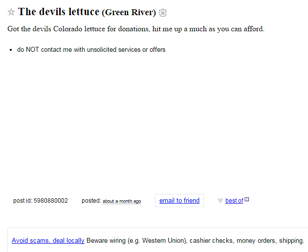 Someone Is Giving Away Devil S Lettuce On Wyoming Craigslist For