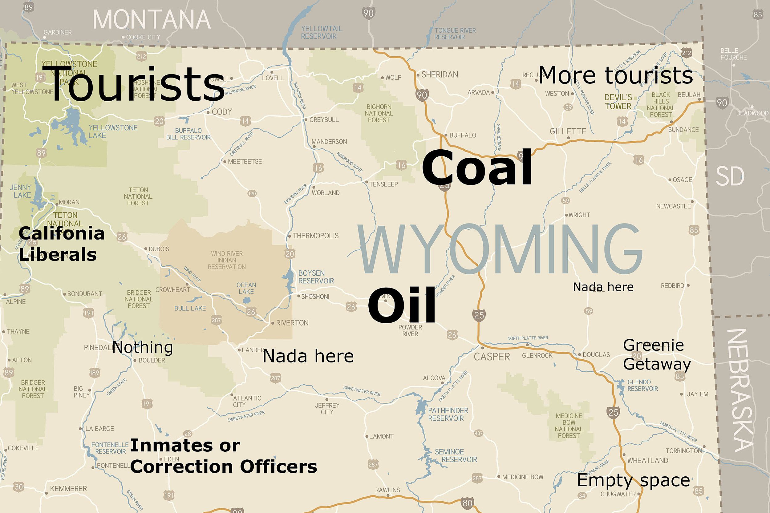 Bondurant Wyoming Map.These Judgmental Maps Of Wyoming Are Too Bad To Miss Photos