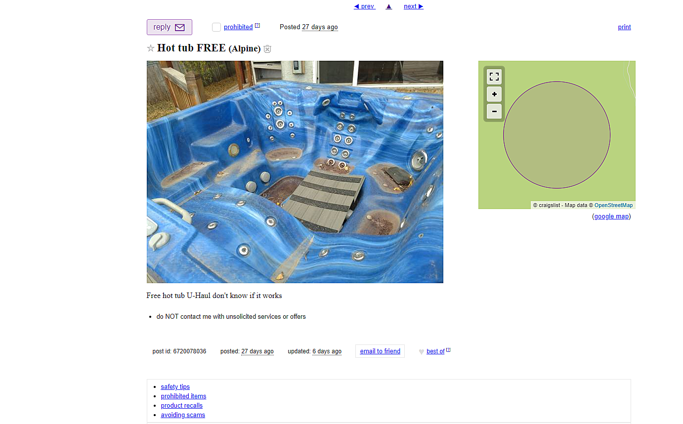 Is This Free Wyoming Hot Tub on Craigslist Worth the Drive?