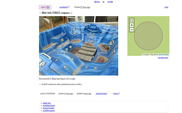 Is This Free Wyoming Hot Tub On Craigslist Worth The Drive