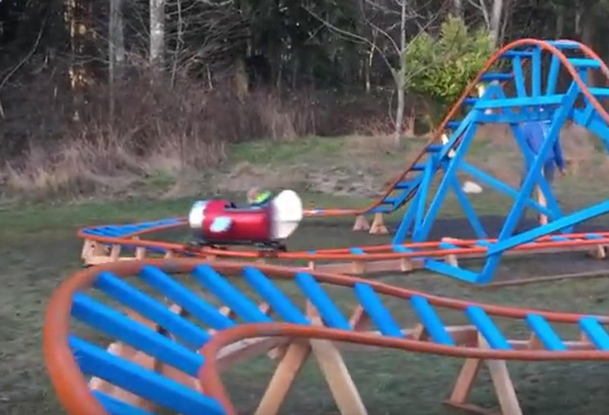 Oak Harbor Dad Builds Backyard Roller Coaster for 3 Yr Old!