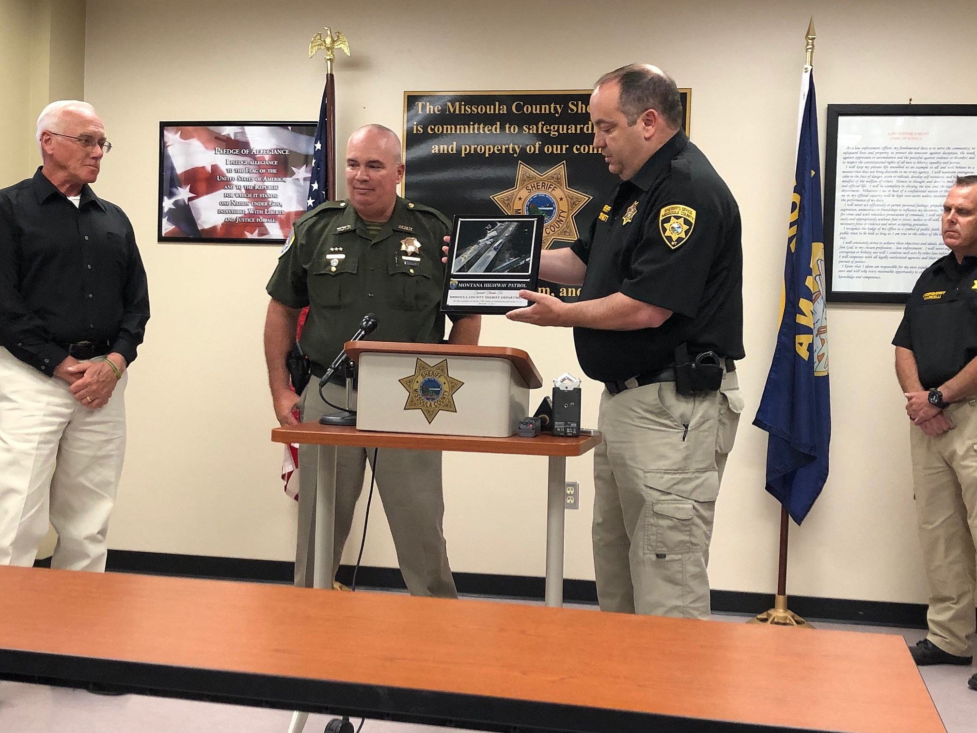 MHP Honors MCSO for Reaction to Fatal Five Semi Truck I-90 Crash