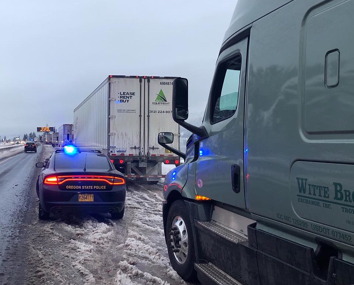 Oregon State Patrol Delivers Treats To Stranded Drivers on I-84
