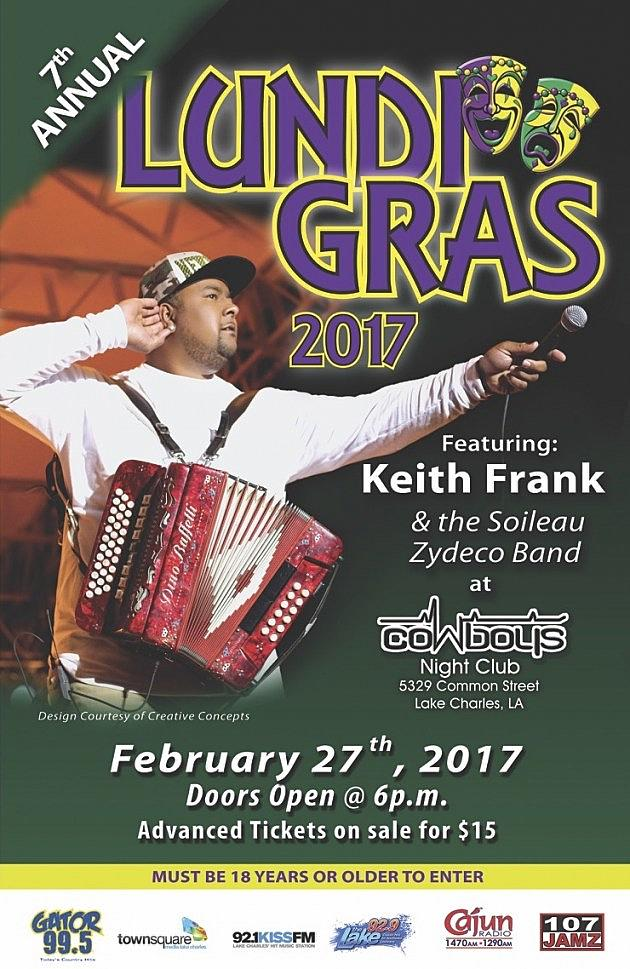 Lundi Gras Party Is Tonight With Keith Frank In Lake Charles