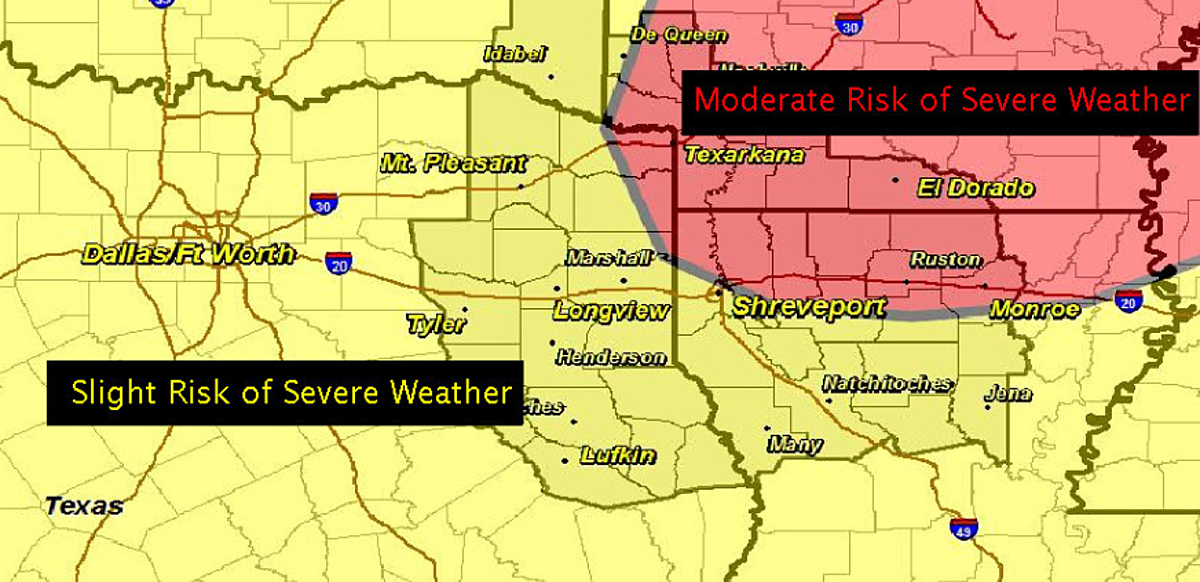 Severe Storms  Tornadoes Possible In East Texas Today