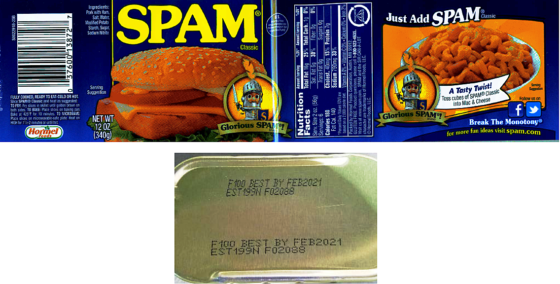 Spam Recalled Due To Possible Foreign Matter Contamination