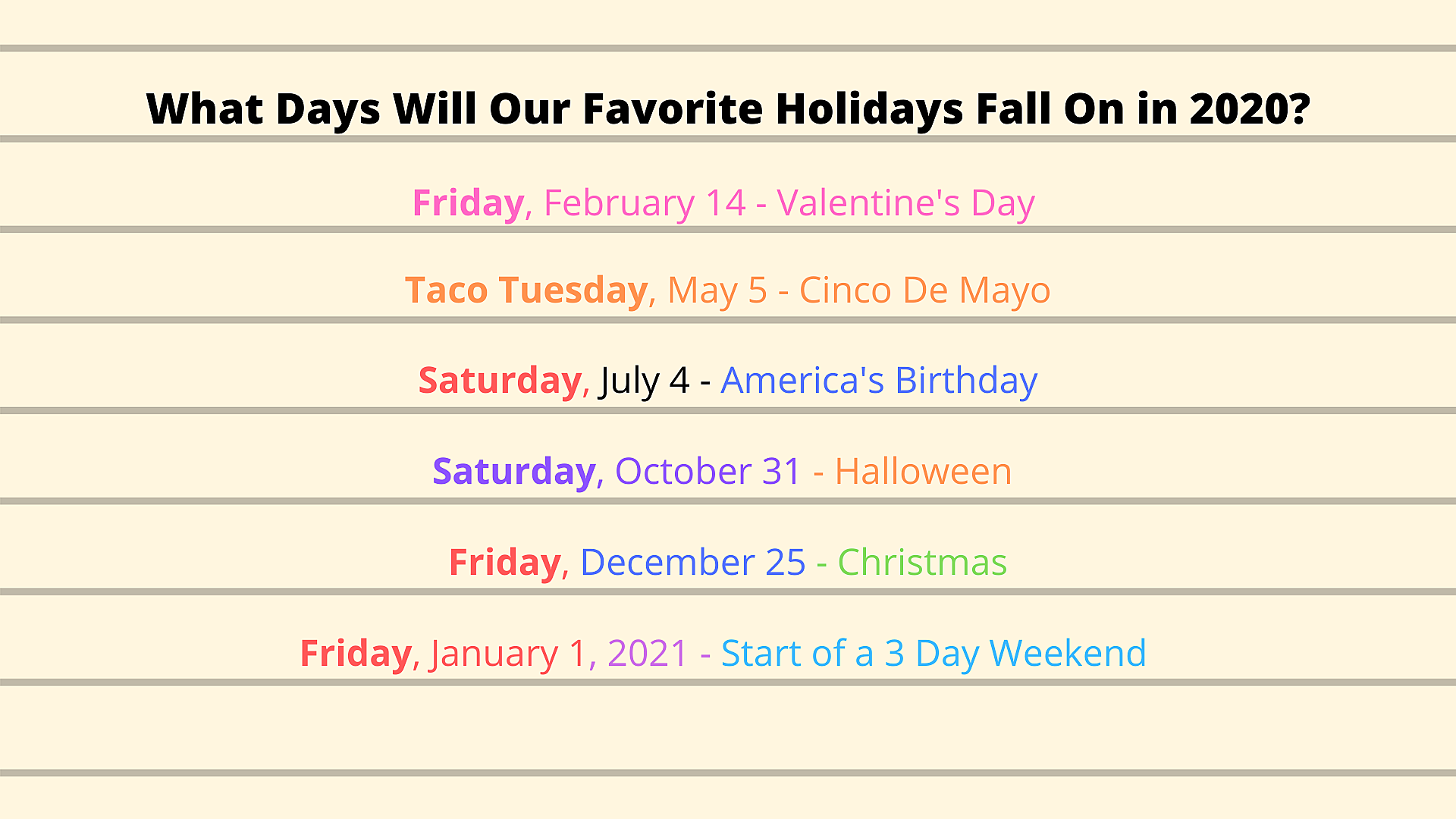 Halloween 2020 The Holidays Some 2020 Holidays will be on the Perfect Days