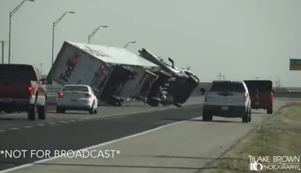 Video: Two Semi Trucks Flip in West Texas Because of High Winds