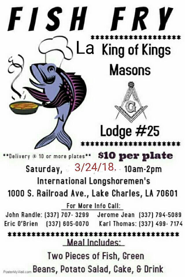 La King Of Kings Masons : Benefit Fish Fry Dinner Sat  3/24