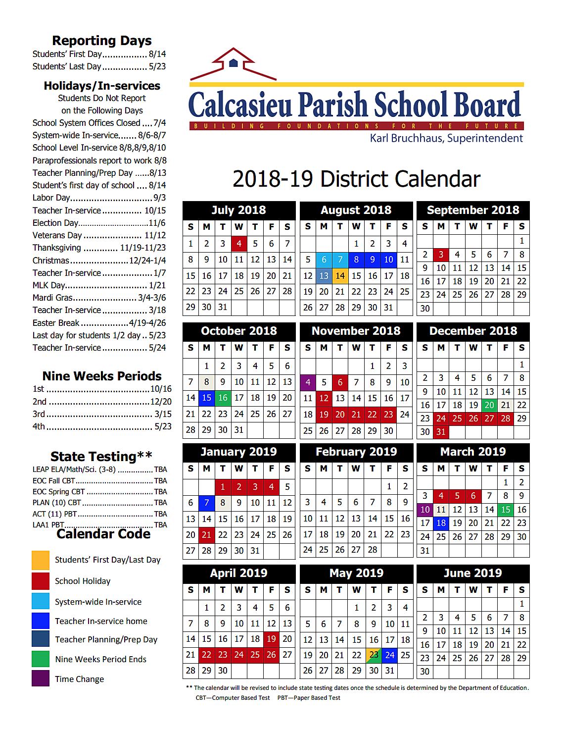 Cpsb Calendar 2020 Calcasieu Parish School Board 2018 19 District Calendar