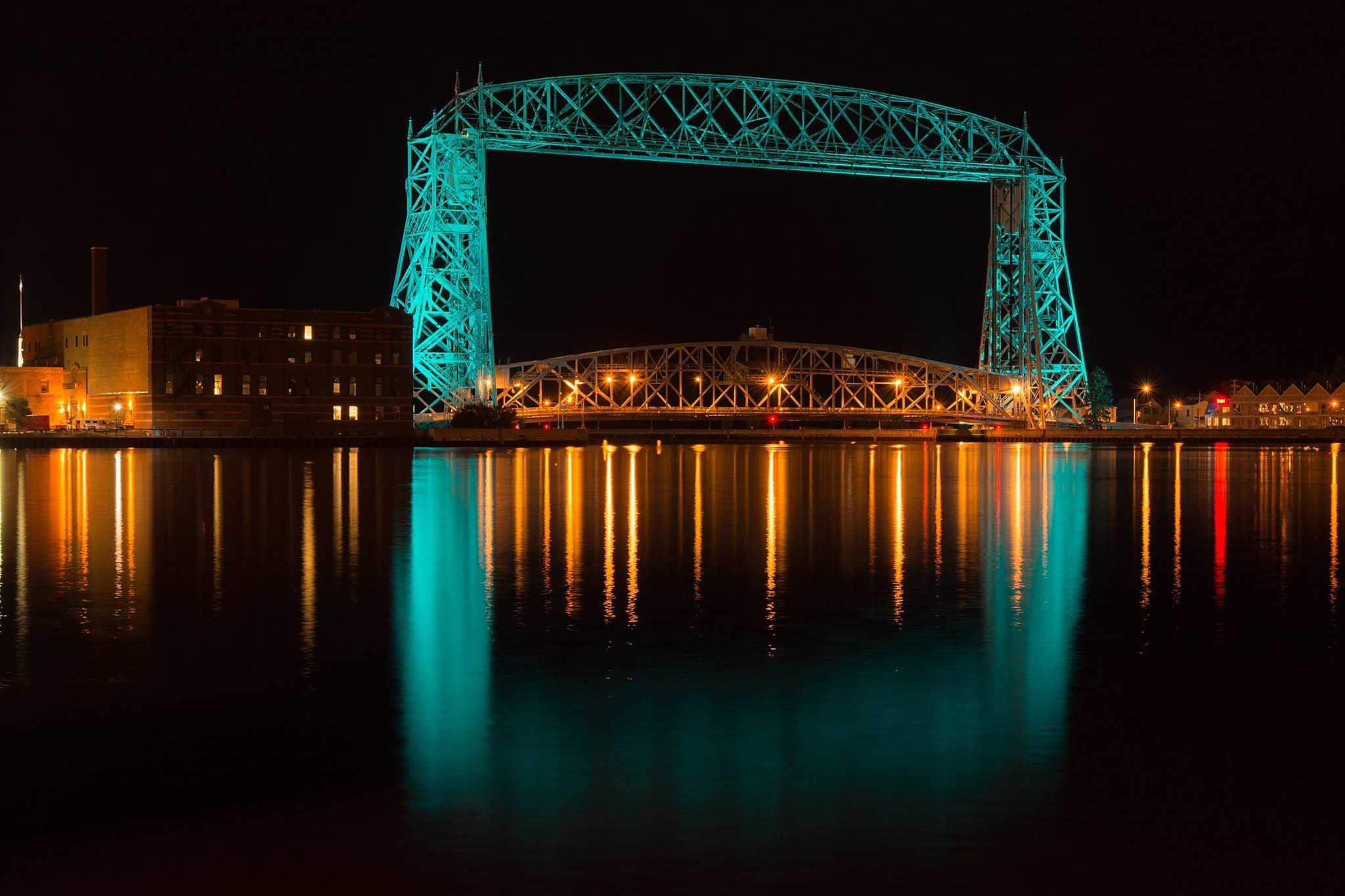 Photos Of Duluth Aerial Lift Bridge And Enger Tower Lit Teal