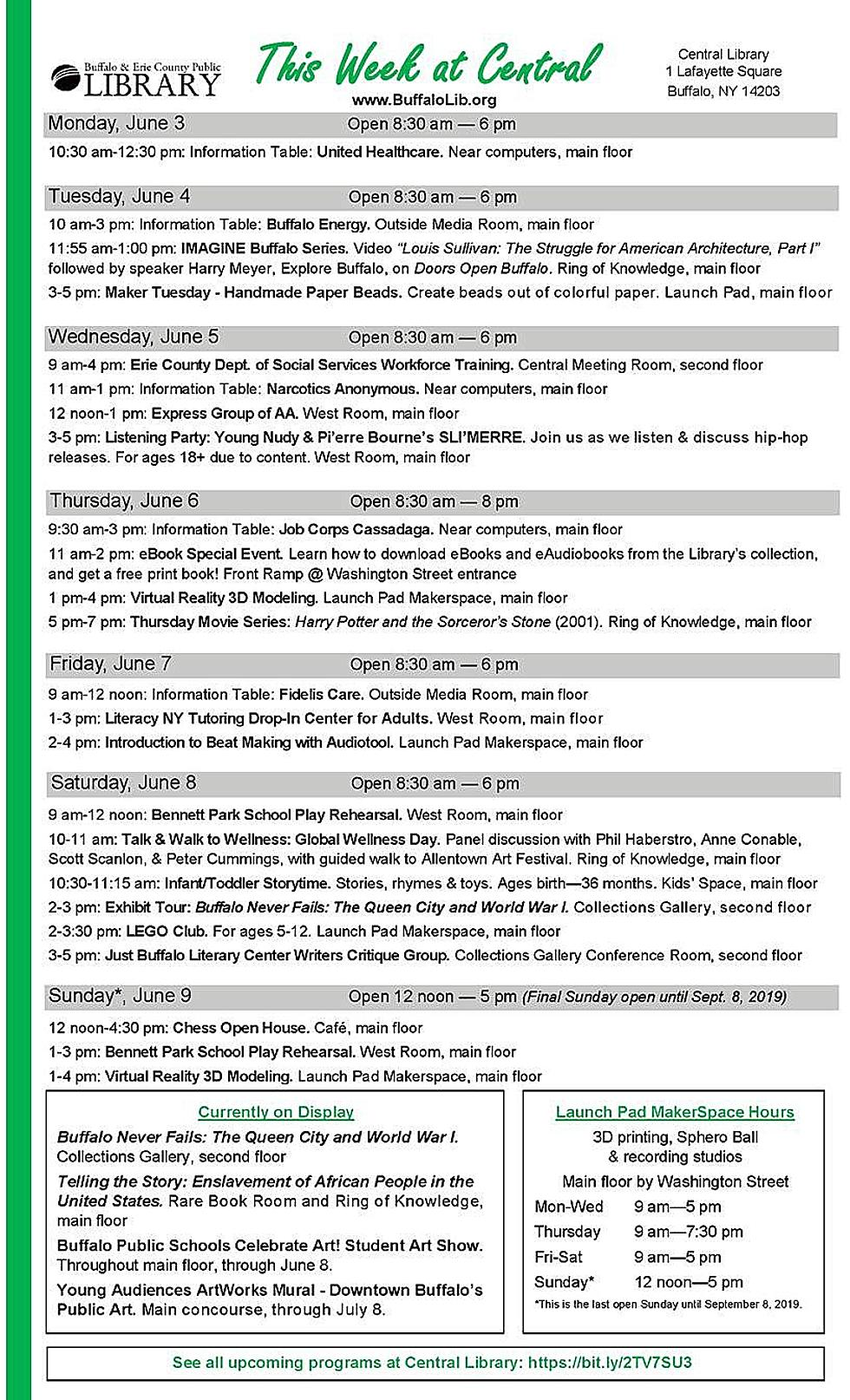Events this Week at the Central Library