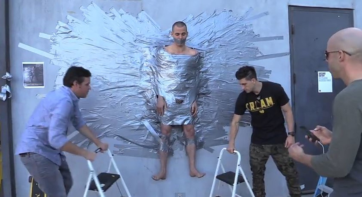 Stephen gets Duct Tape to Wall - YouTube