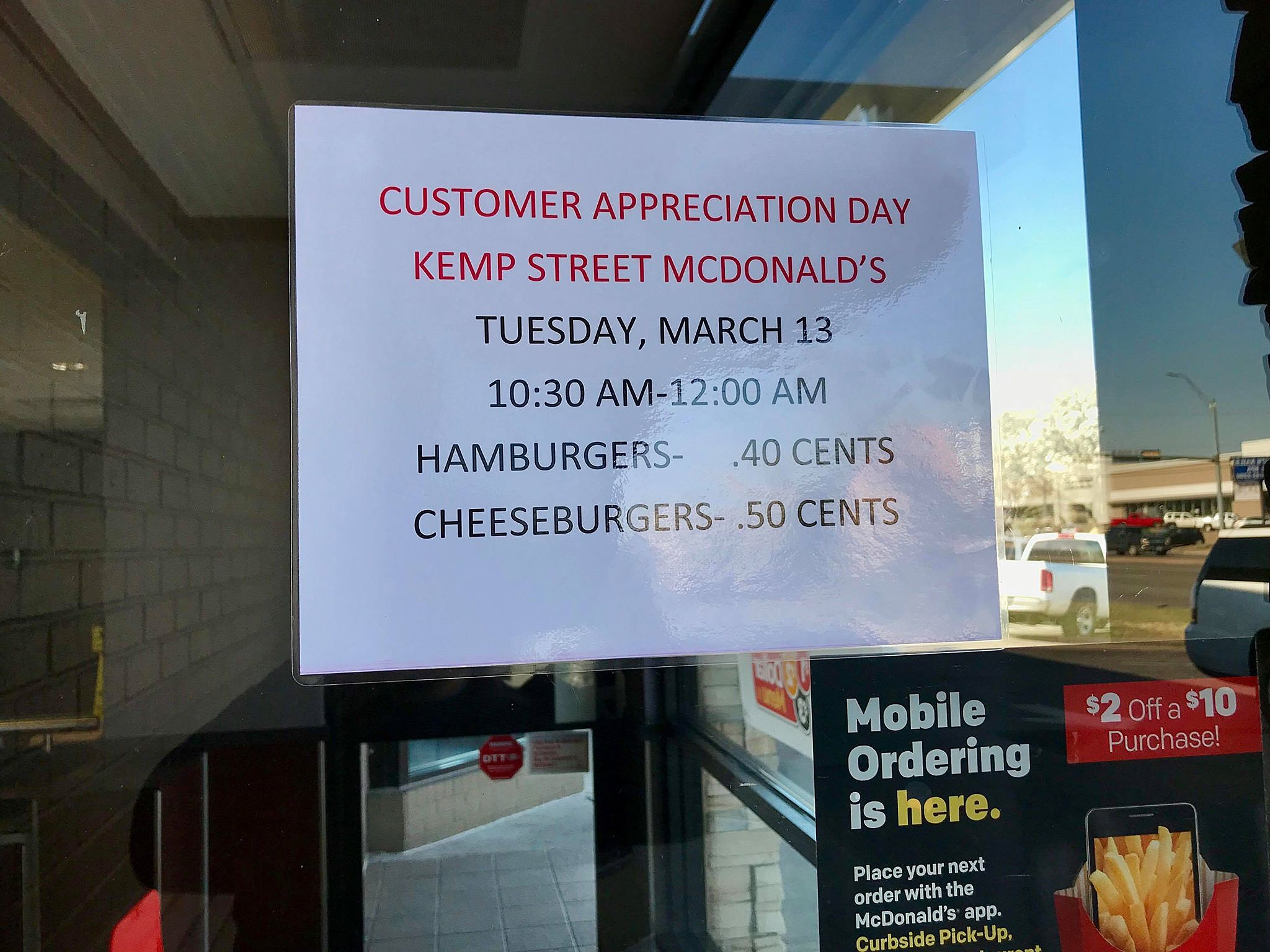 One Wichita Falls McDonald's Offering Forty Cent Burgers Today