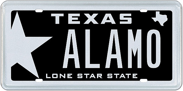 my plates to auction off 39 alamo 39 texas license plate. Black Bedroom Furniture Sets. Home Design Ideas