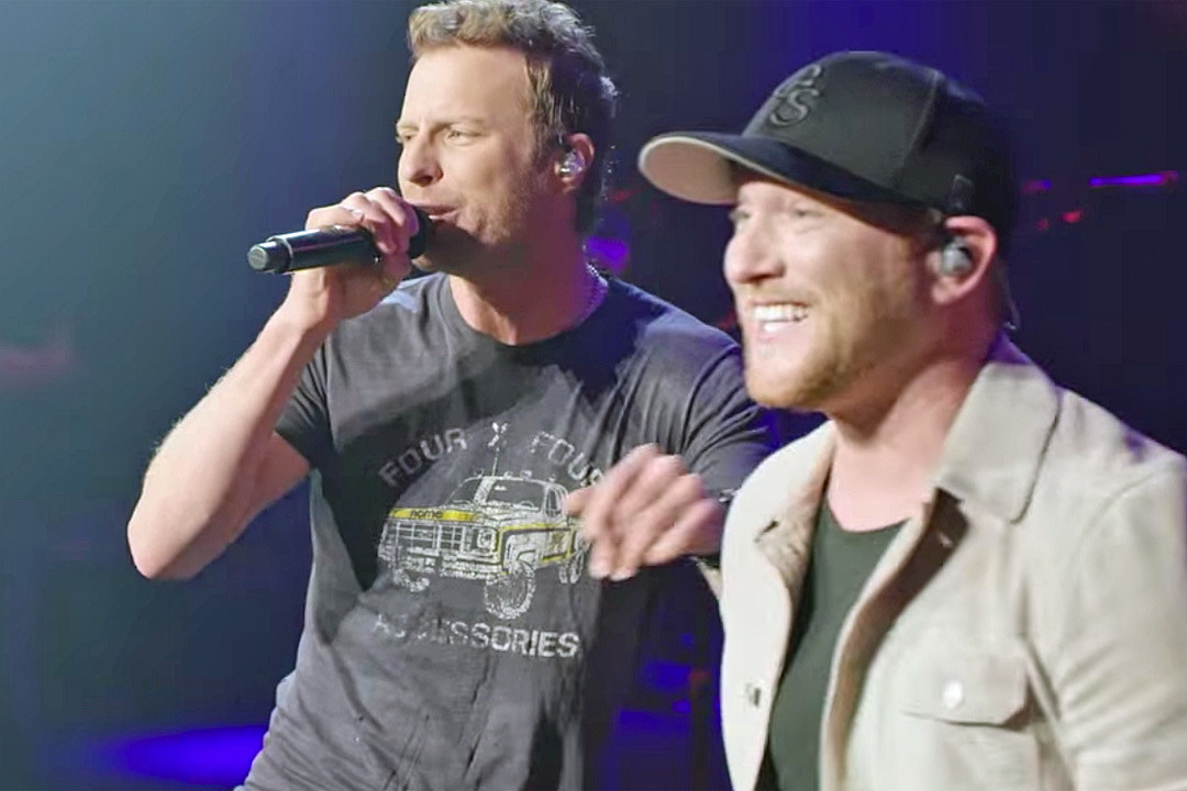 dierks bentley joins cole swindell onstage for 'flatliner'