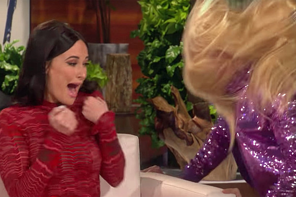 59c6e4af033 Kacey Musgraves Gets a Big Scare From Hannah Montana on  Ellen