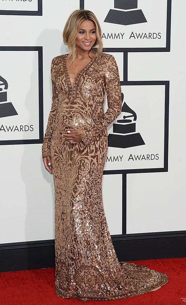 See Pregnant Ciara S Dress At The 2014 Grammys Red Carpet