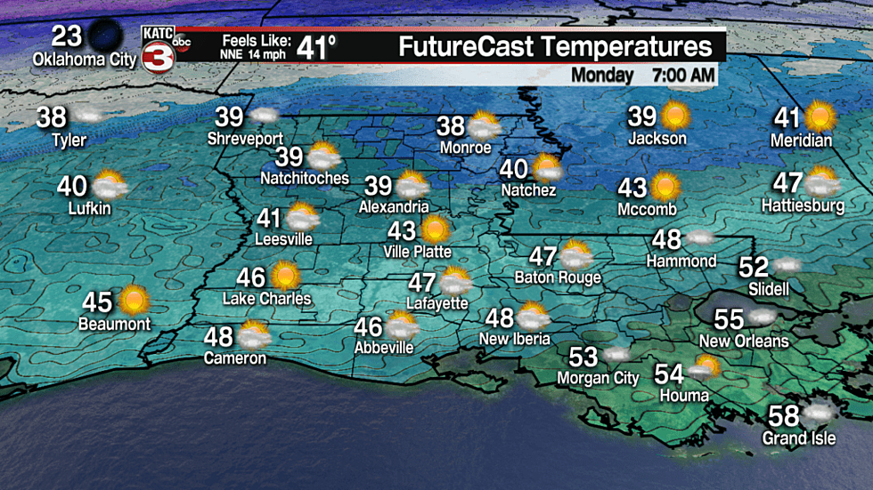 Cool, Rainy Weather Coming To Acadiana