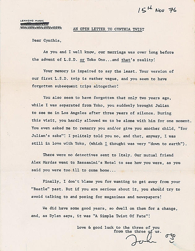 John Lennon's Letter to Ex-Wife for Sale at Auction