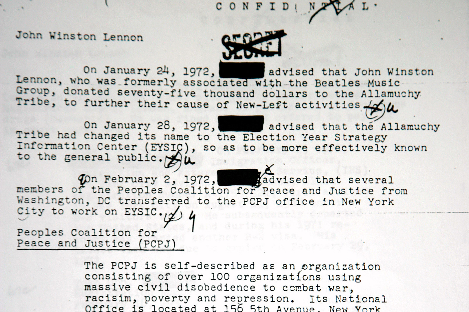 20 Years Ago John Lennon S Fbi File Is Revealed