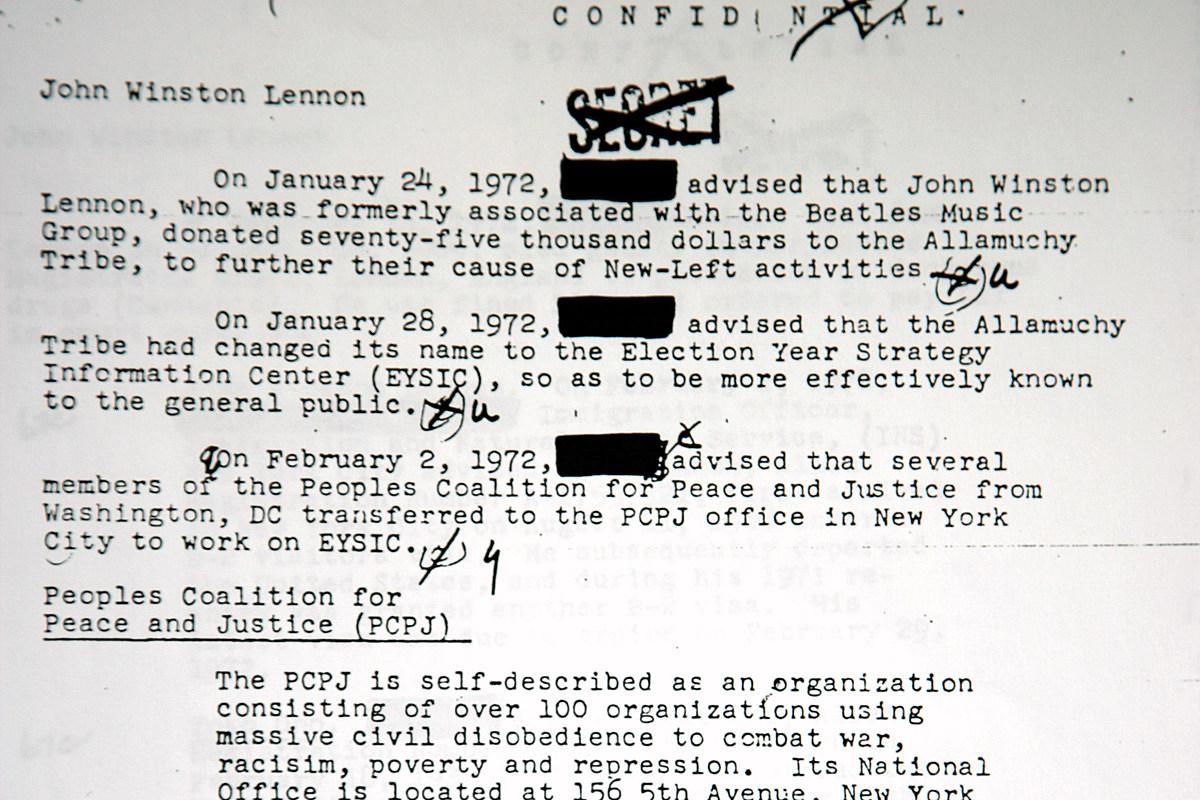 20 Years Ago: John Lennon's FBI File Is Revealed
