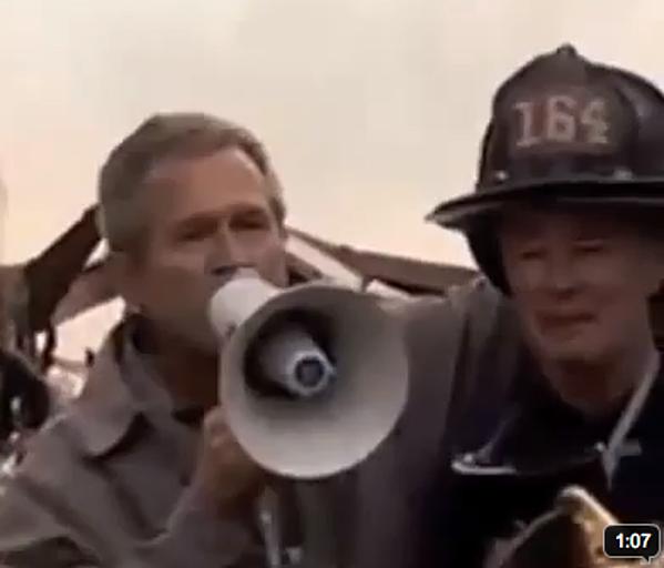 President George W Bush Bullhorn Address At Ground Zero Video