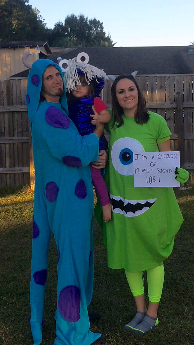 Katherine's handmade Monsters, Inc. costumes of Boo, Mike, and Sully, won by a landslide with a total of 1,677 votes!