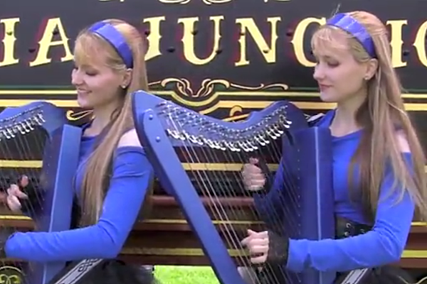 ozzy osbourne 39 s 39 crazy train 39 covered by the harp twins. Black Bedroom Furniture Sets. Home Design Ideas