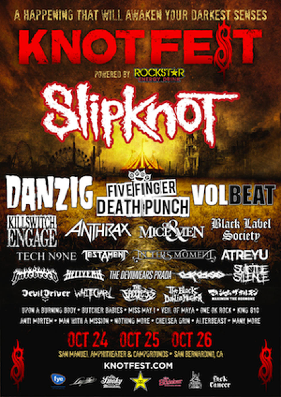 Slipknot Announce 2014 U S  Knotfest With Danzig, FFDP, More