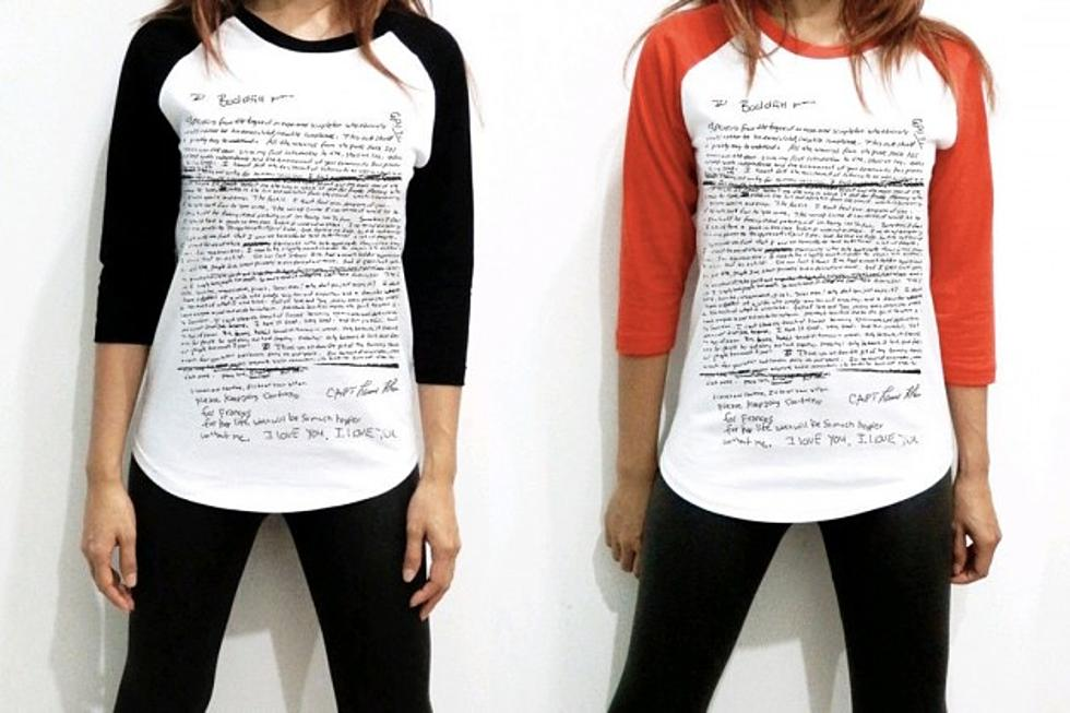 7a235b8f6 E-Commerce Sites Halt Sale of Kurt Cobain Suicide Note T-Shirt